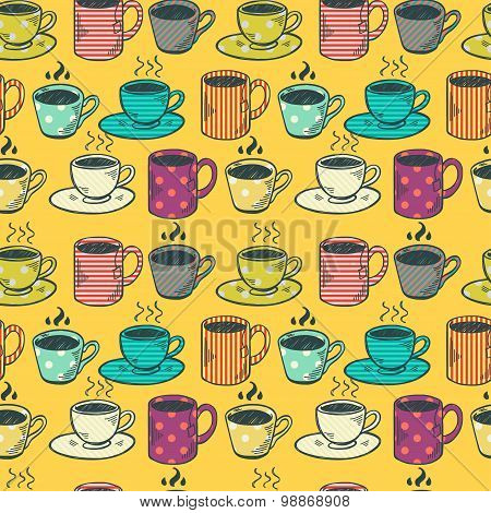 Tea And Coffee Cups Pattern