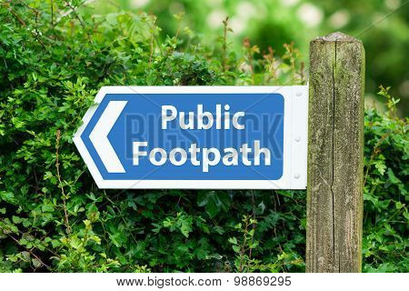 Direction Arrow, Sign To Public Footpath in Blue Color