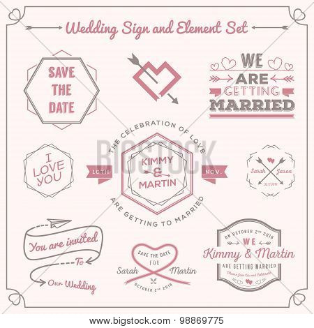 Set of wedding celebration badge and sign decoration elements design