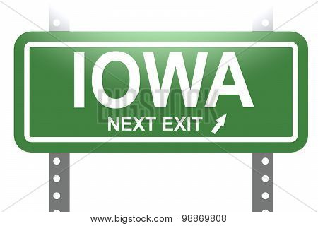 Iowa Green Sign Board Isolated Green Sign Board Isolated
