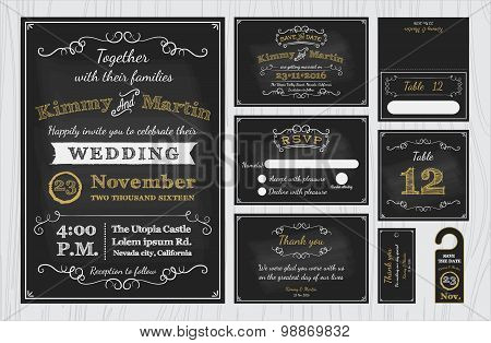 Vintage Chalkboard Wedding Invitations design