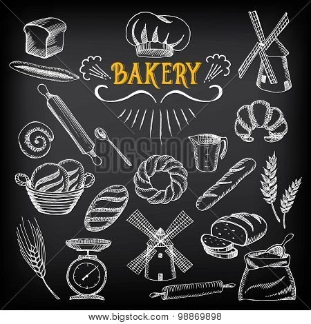 Bread and bakery design. Sketch, doodle vector.