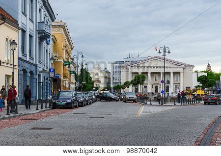 Vilnius, Street Didzioji And View Of The Town Hall And Town Hall Square