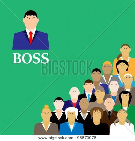 Boss and business team. group of office workers.