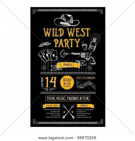 Invitation wild west party flyer. Typography  and design.