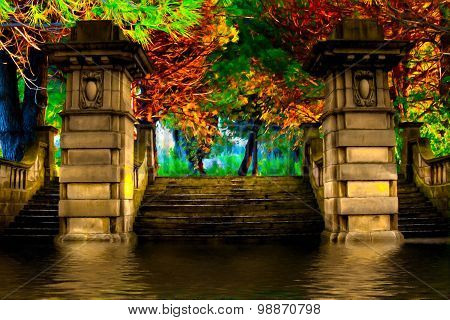 Sandstone steps leading to colorful trees in floodwater, digital painting with canvas texture