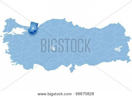 Map Of Turkey, Sakarya