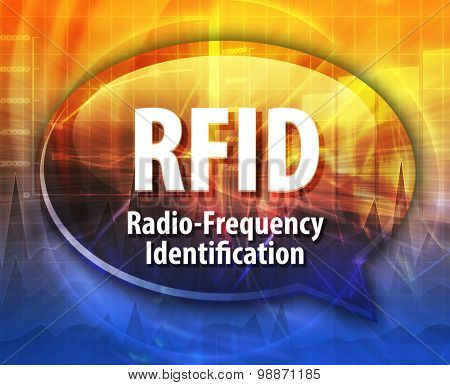 Speech bubble illustration of information technology acronym abbreviation term definition RFID Radio Frequency Identification