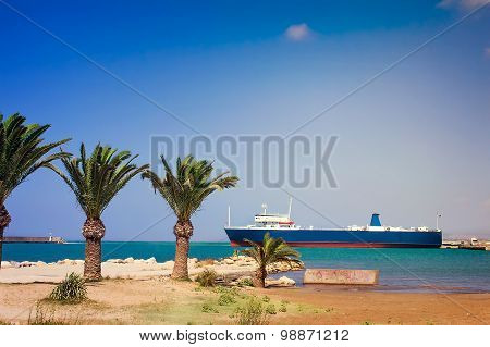 Landscape: Views Of The Port And The Ship In The Town Rethymno, Crete, Greece