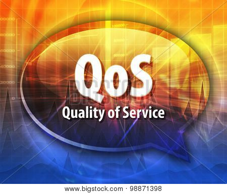 Speech bubble illustration of information technology acronym abbreviation term definition QoS Quality of Service