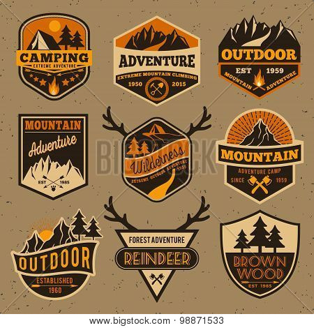 Set of summer camping outdoor adventure and mountain badge logo