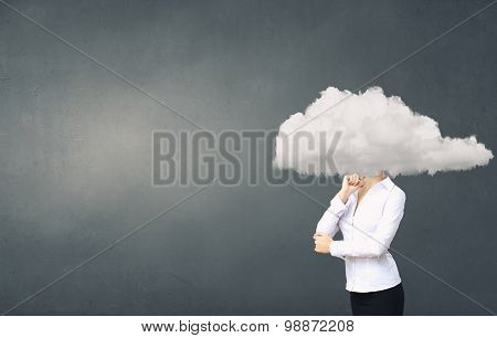 Woman with cloud head