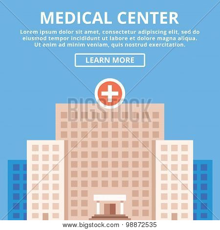 Medical center, modern clinic, hospital building. Simple flat design concept
