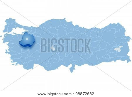 Map Of Turkey, Kutahya