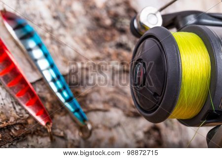 Closeup Fishing Baits Lures With Reel