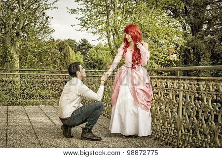 Romantic Fairy Tale Couple in Beautiful Palace Garden