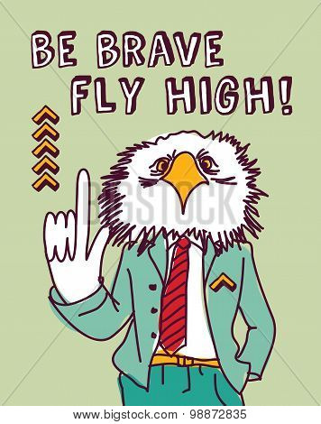 Fun business suit bird brave color
