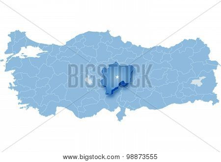 Map Of Turkey, Kayseri