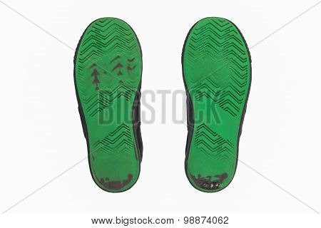 Dirty Used shoe green soles
