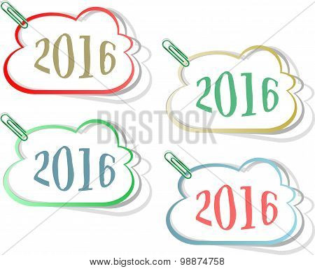 Happy New Year 2016 Creative Greeting Card Design, Year 2016 Stickers Set Design Element Isolated On