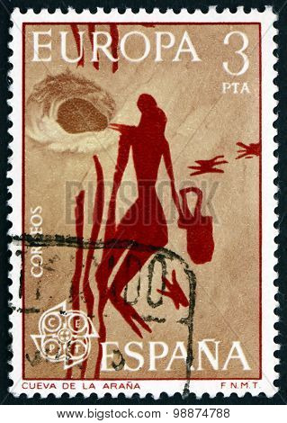 Postage Stamp Spain 1975 Horse, Wall Painting From Arana Cave