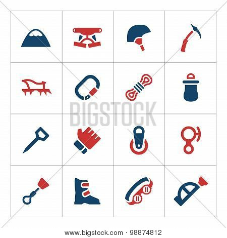 Set Color Icons Of Mountaineering