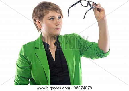 Image of woman looking through glasses
