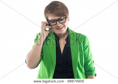 Image of frowned woman speaking by phone