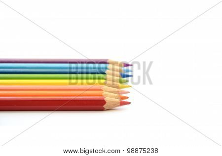 Rainbow pencils color horizontal alignment in white background