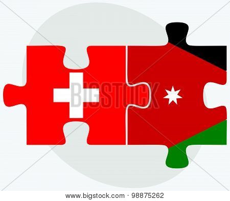 Switzerland And Jordan Flags