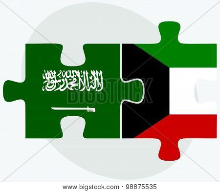 Saudi Arabia And Kuwait Flags
