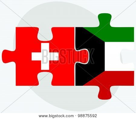 Switzerland And Kuwait Flags