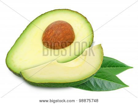 Two slices of avocado with leaves