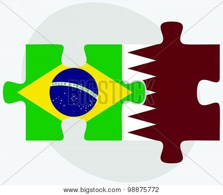 Brazil And Qatar Flags