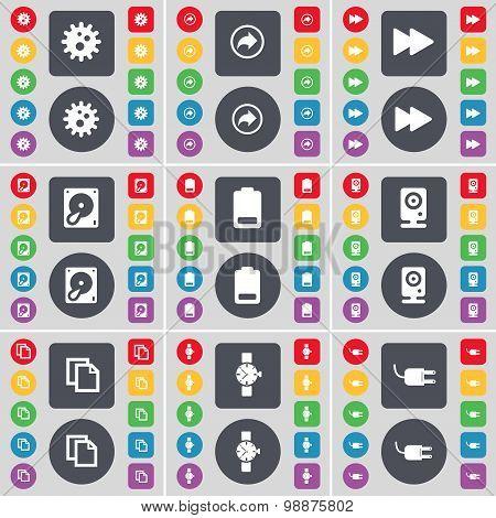 Gear, Back, Rewind, Hard Drive, Battery, Speaker, Copy, Wrist Watch, Socket Icon Symbol. A Large Set