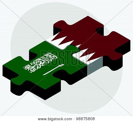 Saudi Arabia And Qatar Flags