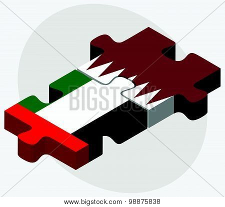 United Arab Emirates And Qatar Flags