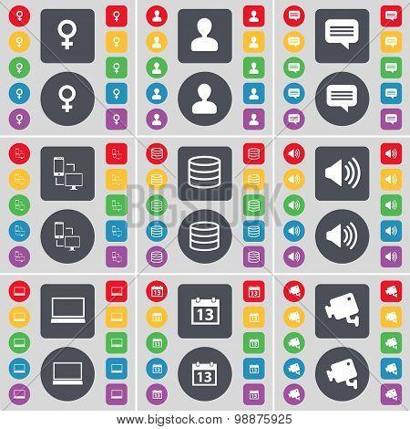 Venus Symbol, Avatar, Chat Bubble, Connection, Database, Sound, Laptop, Calendar, Cctv Icon Symbol.