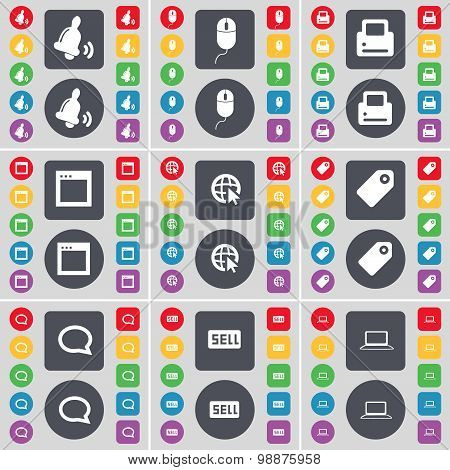 Bell, Mouse, Printer, Window, Web Cursor, Tag, Chat Bubble, Sell, Laptop Icon Symbol. A Large Set Of