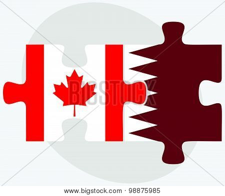 Canada And Qatar Flags