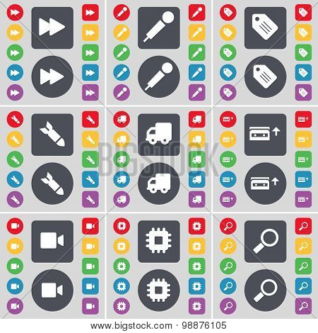 Rewind, Microphone, Tag, Rocket, Truck, Cassette, Film Camera, Processor, Magnifying Glass Icon Symb