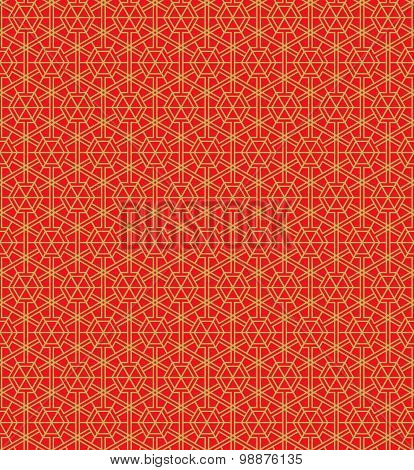 Golden seamless Chinese style window tracery polygon geometry pattern background.