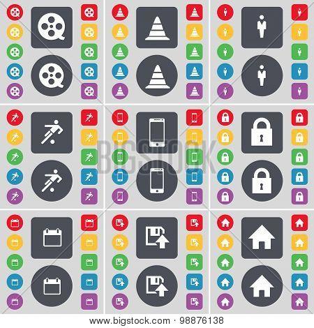 Videotape, Cone, Silhouette, Football, Smartphone, Lock, Calendar, Floppy, House Icon Symbol. A Larg