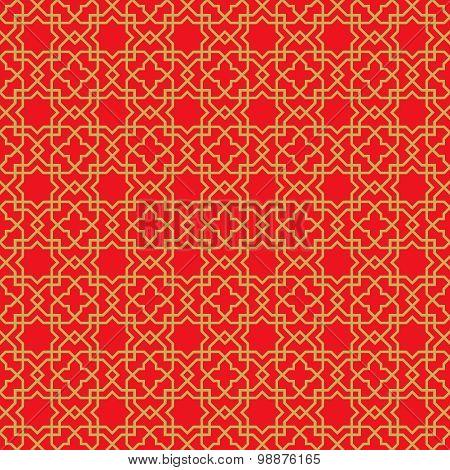 Golden seamless Chinese window tracery lattice geometry star cross pattern background.