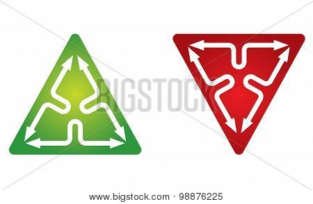 Icon Template, Triangle And Arrows
