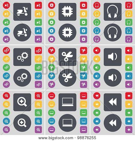 Scooter, Processor, Headphones, Gears, Scissors, Sound, Plus, Laptop, Rewind Icon Symbol. A Large Se