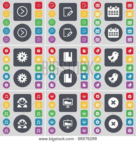Arrow Right, Survey, Calendar, Gear, Dictionary, Bird, Avatar, Graph, Stop Icon Symbol. A Large Set
