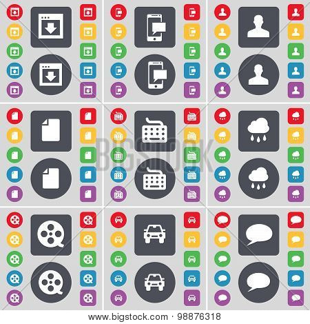 Window, Sms, Avatar, File, Keyboard, Cloud, Videotape, Car, Chat Bubble Icon Symbol. A Large Set Of