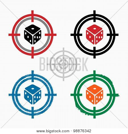 Gambling Dice Vector Icon On Target Icons Background