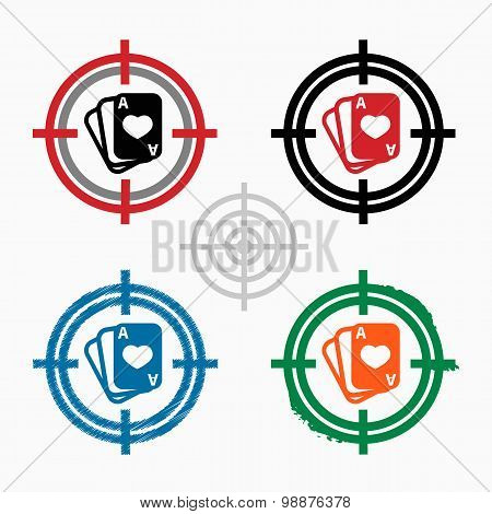 Game Cards Icon On Target Icons Background
